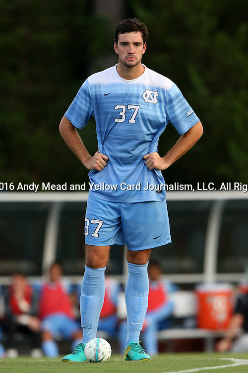 28 August 2016: North Carolina's Walker Hume. The University of North Carolina Tar Heels hosted the Saint Louis University Billikens at Fetter Field in Chapel Hill, North Carolina in a 2016 NCAA Division I Men's Soccer match. UNC won the game 3-0.