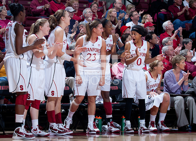STANFORD, CA - January 22, 2011: The Stanford women's basketball team during their game against USC at Maples Pavilion. Stanford beat USC 95-51.
