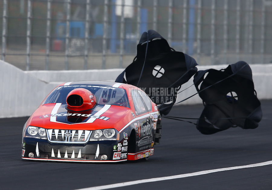 Feb 9, 2014; Pomona, CA, USA; NHRA pro stock driver V. Gaines during the Winternationals at Auto Club Raceway at Pomona. Mandatory Credit: Mark J. Rebilas-