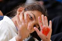 """Rifugiati siriani provenienti dai campi dell'ACNUR in Libano arrivano all'aeroporto internazionale di Roma Fiumicino, 29 febbraio 2015. 93 rifugiati fuggiti dalle città' siriane di Homs, Hama e Dibli sono sbarcati in Italia grazie al corridoio umanitario protetto lanciato dal governo italiano, dalla Comunità' di Sant'Egidio, dalla Federazione delle Chiese Evangeliche Valdesi e dalla Tavola Valdese.<br /> Syrian refugees from Lebanon's UNHCR camps arrive at Rome's Fiumicino international airport, 29 February 2016. 93 refugees coming from Homs, Hama and Idlib landed thanks to the """"humanitarian corridor"""" project launched by the Italian Foreign Ministry, Interior Ministry, Sant'Egidio Community, Federation of Evangelical Churches in Italy and Waldensian Board.<br /> UPDATE IMAGES PRESS/Riccardo De Luca"""