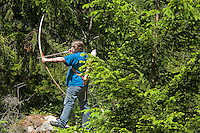 Pfunds, Tyrol, Austria, June 2010. The aftermath of the first bow hunting competion in Pfunds. Bow hunters practice at the brand new Bow Hunters Parcour Near the Fisher Alm in Tiroler Oberland. Bow hunting is an upcoming outdoor sport where archers shoot at rubber 3D targets in the shape of game animals.  Photo by Frits Meyst/Adventure4ever.com