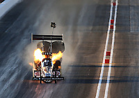 Feb 21, 2014; Chandler, AZ, USA; NHRA top fuel dragster driver Bob Vandergriff Jr backfires an engine during qualifying for the Carquest Auto Parts Nationals at Wild Horse Pass Motorsports Park. Mandatory Credit: Mark J. Rebilas-USA TODAY Sports