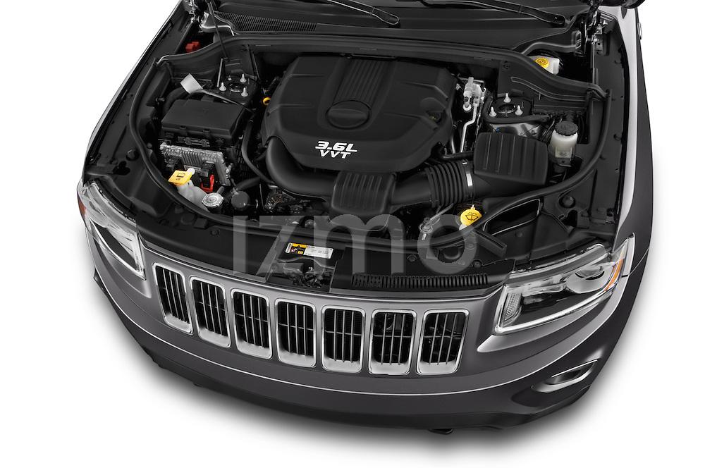 Car stock 2015 Jeep Grand Cherokee Laredo 5 Door SUV engine high angle detail view