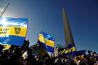 """Buenos Aires, 12/12/12. Seguidores do Boca Juniors, que se chamam """"jogador do dia 12"""", celebrar o Dia da Fãs Boca Juniors no Obelisco em Buenos Aires, capital da Argentina, nesta quarta-feira, 12. (FOTO: PATRICIO MURPHY  / BRAZIL PHOTO PRESS)"""