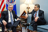 United States Senator Al Franken (Democrat of Minnesota), right, meets Judge Merrick Garland, chief justice for the US Court of Appeals for the District of Columbia Circuit, left, who is US President Barack Obama's selection to replace the late Associate Justice Antonin Scalia on the US Supreme Court, in his Capitol Hill office in Washington, DC on Wednesday, March 30, 2016. <br /> Credit: Ron Sachs / CNP