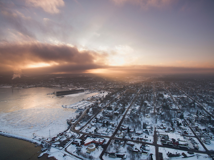Aerial view of Marquette, Michigan in early winter.