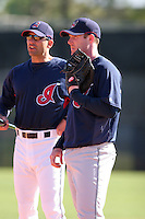 Cleveland Indians minor leaguer Ryan Mulhern gets instruction from Torey Lovullo during Spring Training at the Chain of Lakes Complex on March 17, 2007 in Winter Haven, Florida.  (Mike Janes/Four Seam Images)