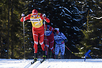 1st January 2020, Toblach, South Tyrol , Italy;  Sergey Ustiugov of Russia during mens cross country skiing 15 km classic style pursuit at the FIS Tour de Ski event in Toblach, Italy on January 1, 2020.