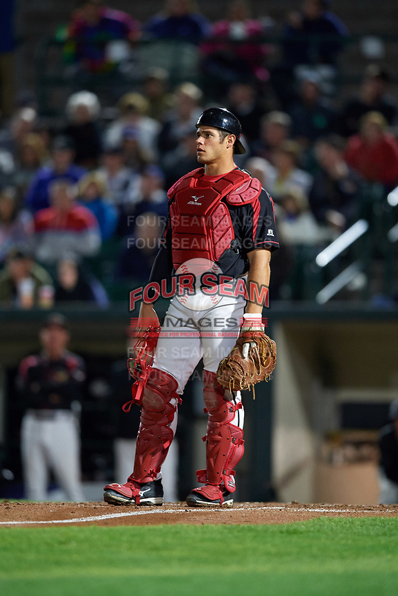 Rochester Red Wings catcher Anthony Recker (30) during a game against the Buffalo Bisons on August 25, 2017 at Frontier Field in Rochester, New York.  Buffalo defeated Rochester 2-1 in eleven innings.  (Mike Janes/Four Seam Images)