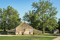 Stone barn, Historic Batsto Village, Wharton State Park, Pine Barrens, New Jersey, USA