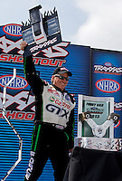 Sept. 1, 2013; Clermont, IN, USA: NHRA funny car driver John Force during qualifying for the US Nationals at Lucas Oil Raceway. Mandatory Credit: Mark J. Rebilas-