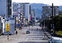 Taranaki Street at 8.45am in Wellington CBD during quarantine lockdown for COVID19 pandemic in Wellington, New Zealand on Monday, 6 April 2020. Photo: Dave Lintott / lintottphoto.co.nz