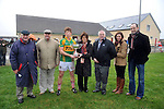 """26-2-2012: Mary Earley presents her husbands memorial cup ( the Dermot Earley cup ) to winning captain Tomny Costello of Tuam All-Stars in Gallarus, Dingle on Sunday. Also in picture is Paidi O""""Se, tournament organieser..Picture by Don MacMonagle"""