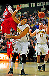 12 December 2010: University of Vermont Catamount forward Luke Apfeld (2), a Freshman from Wolfeboro, NH, in action against the Marist College Red Foxes at Patrick Gymnasium in Burlington, Vermont. The Catamounts (7-2) defeated the Red Foxes  75-67 notching their 7th win of the season, and their best start since the '63-'64 season. Mandatory Credit: Ed Wolfstein Photo