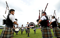 A pipe and drum band warms up during the 52nd Annual Grandfather Mountain Highland Games in Linville, NC.