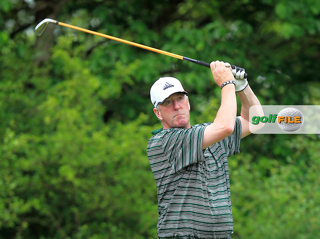 Paul Reilly (Co. Louth) on the 13th tee during Round 2 of the Irish Mid-Amateur Open Championship at New Forest on Saturday 20th June 2015.<br /> Picture:  Thos Caffrey / www.golffile.ie