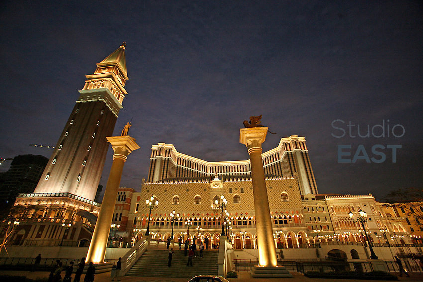 The Venetian casino and its replica of Venice's Saint Mark's place stand in Macau, China, on February 21, 2008. The Venetian Macao-Resort-Hotel is a 163,000 square foot casino featuring 405 slots and 277 table games. Macao has overtaken Las Vegas with a gambling revenue of 7 billion U.S. dollars in 2006 (Las Vegas' was 6.6 billion U.S. dollars), and is now the world's top casino hut. Photo by Lucas Schifres/Pictobank