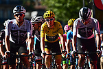 Race leader Geraint Thomas (WAL) Team Sky Yellow Jersey crosses the finish line at the end of Stage 15 of the 2018 Tour de France running 181.5km from Millau to Carcassonne, France. 22nd July 2018. <br /> Picture: ASO/Alex Broadway | Cyclefile<br /> All photos usage must carry mandatory copyright credit (&copy; Cyclefile | ASO/Alex Broadway)