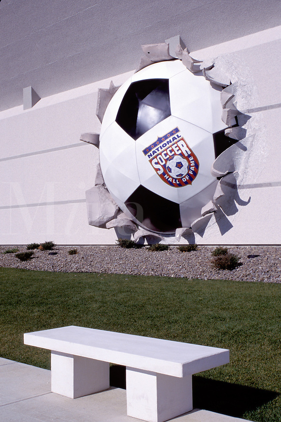 hall of fame, soccer, Oneonta, New York, NY, Large soccer ball in the wall at the National Soccer Hall of Fame