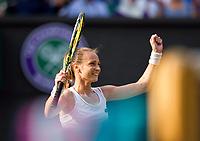 Magdalena Rybarikova of Slovakia celebrates her victory against Karolina Pliskova of The Czech Republic in their Ladies' Singles Second Round Match today - Rybarikova def Pliskova 3-6, 7-5, 6-2<br /> <br /> Photographer Ashley Western/CameraSport<br /> <br /> Wimbledon Lawn Tennis Championships - Day 4 - Thursday 6th July 2017 -  All England Lawn Tennis and Croquet Club - Wimbledon - London - England<br /> <br /> World Copyright &not;&uml;&not;&copy; 2017 CameraSport. All rights reserved. 43 Linden Ave. Countesthorpe. Leicester. England. LE8 5PG - Tel: +44 (0) 116 277 4147 - admin@camerasport.com - www.camerasport.com