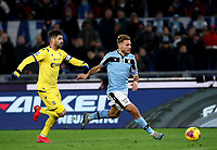 Football, Serie A: S.S. Lazio - Hellas Verona, Olympic stadium, Rome, February 5, 2020. <br /> Lazio's Ciro Immobile (r) in action with Hellas Verona's captain Miguel Veloso (l) during the Italian Serie A football match between S.S. Lazio and Hellas Verona at Rome's Olympic stadium, Rome, on February 5, 2020. <br /> UPDATE IMAGES PRESS/Isabella Bonotto