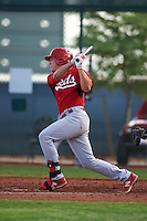 Cincinnati Reds Tyler Stephenson (9) during an instructional league game against the Cleveland Indians on October 17, 2015 at the Goodyear Ballpark Complex in Goodyear, Arizona.  (Mike Janes/Four Seam Images)