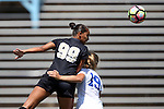 21 August 2016: Central Florida's Carol Rodrigues (BRA) (99) heads the ball over Duke's Schuyler DeBree (19). The Duke University Blue Devils played the University of Central Florida Knights in a 2016 NCAA Division I Women's Soccer match. Duke won the game 3-1.