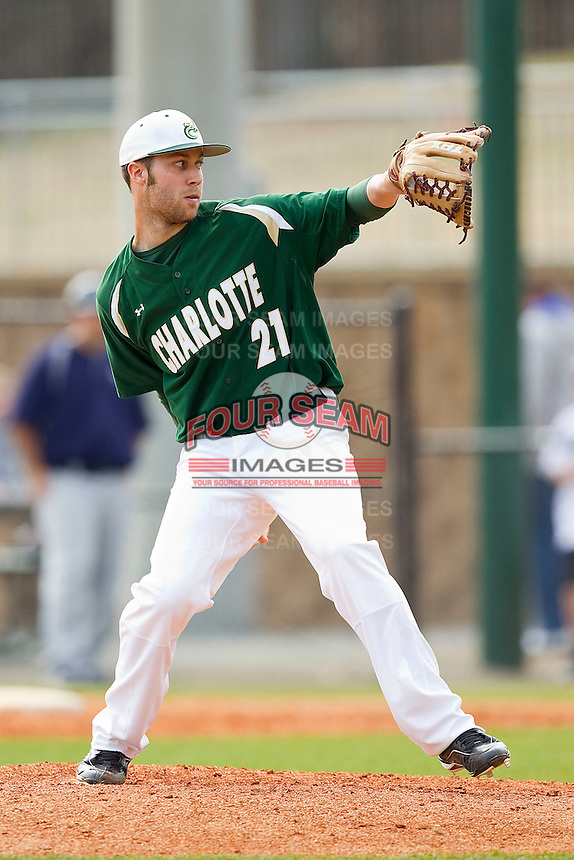 Relief pitcher Chad Rothlin #21 of the Charlotte 49ers in action against the Saint Peter's Peacocks at Robert and Mariam Hayes Stadium on February 18, 2012 in Charlotte, North Carolina.  Brian Westerholt / Four Seam Images