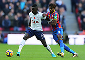 5th November 2017, Wembley Stadium, London England; EPL Premier League football, Tottenham Hotspur versus Crystal Palace; Wilfried Zaha of Crystal Palace intercepts Davinson Sanchez of Tottenham Hotspur