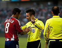 Chivas defender Mariano Trujillo talking with the ref during the first half of the game between Chivas USA and the Philadelphia Union at the Home Depot Center in Carson, CA, on July 3, 2010. Chivas USA 1, Philadelphia Union 1.
