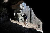 NWA Democrat-Gazette/FLIP PUTTHOFF <br /> Hiking into a bluff shelter cave March 25, 2016 at Alum Cove Natural Bridge.
