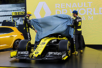11th March 2020; Melbourne Grand Prix Circuit, Melbourne, Victoria, Australia; Formula One, Australian Grand Prix, Arrival Day; Renault drivers Esteban Ocon and Daniel Ricciardo lift the covers at Renault car launch