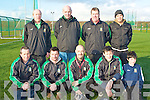 KINGDOM BOYS COACHES: Member's of the Kingdom Boys Academy coaches at the super 7 soccer blitz at Tralee IT on Sunday front l-r: Gerard Heaslip, Daniel Moriarty, Peter Gunn and Roland and Eddie Rogers. Back l-r: Brian Twohig, Paul Cunningham, Tony Everett and Iyem Cemal..