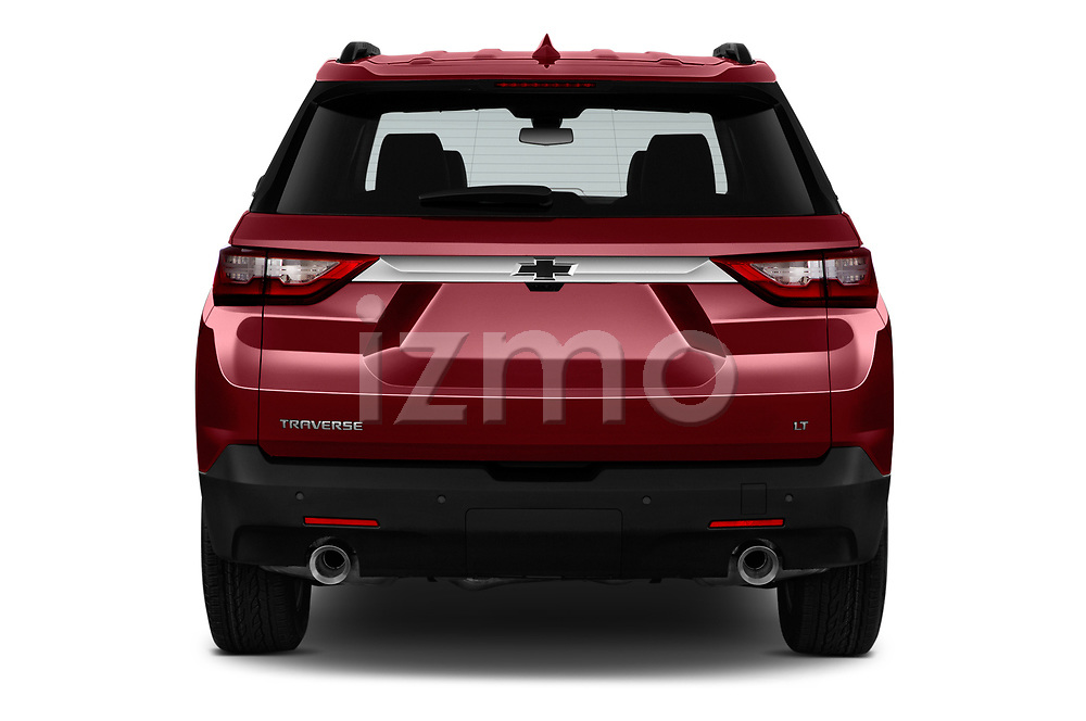 Straight rear view of a 2020 Chevrolet traverse 3LT 5 Door SUV stock images