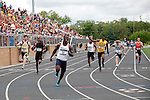 28 MAY 2016:  Greg Taylor of Wesley celebrates as he crosses the finish line of the men's 4x100 meter raceduring the Division III Men's and Women's Outdoor Track & Field Championship held at Walston Hoover Stadium on the Wartburg College campus in Waverly, IA. Wesley won the race with a time of 40.01. Conrad Schmidt/NCAA Photos
