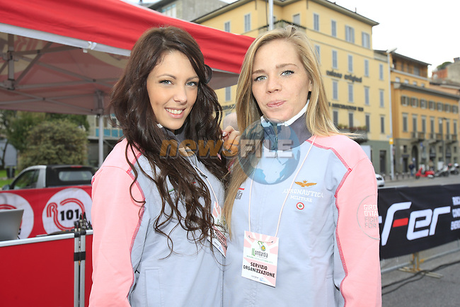 Podium girls before the start of the 107th edition 2013 Tour of Lombardy 242 Km starting in Bergamo and finishing in Lecco. 6th October 2013.<br /> (Photo: Eoin Clarke/www.newsfile.ie)