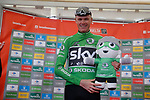 Race leader Christopher Froome (GBR) Team Sky retains the points Green Jersey at the end of Stage 20 of the 2017 La Vuelta, running 117.5km from Corvera de Asturias to Alto de l'Angliru, Spain. 9th September 2017.<br /> Picture: Unipublic/&copy;photogomezsport | Cyclefile<br /> <br /> <br /> All photos usage must carry mandatory copyright credit (&copy; Cyclefile | Unipublic/&copy;photogomezsport)