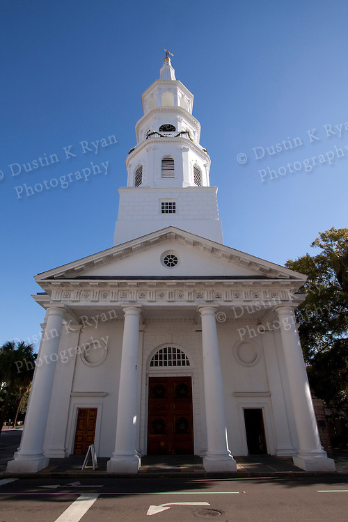St Michaels Church Downtown Charleston South Carolina Blue Sky Sun