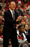 Ohio State Buckeyes head coach Thad Matta motivates his team from the sideline during the first half of the NCAA basketball game between the Ohio State Buckeyes and the Central Connecticut State Blue Devils at Value City Arena in Columbus, Ohio, on Saturday, Dec. 7, 2013.  (Columbus Dispatch/Sam Greene)