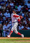 22 June 2019: Boston Red Sox right fielder Mookie Betts at bat against the Toronto Blue Jays at Fenway :Park in Boston, MA. The Blue Jays rallied to defeat the Red Sox 8-7 in the 2nd game of their 3-game series. Mandatory Credit: Ed Wolfstein Photo *** RAW (NEF) Image File Available ***
