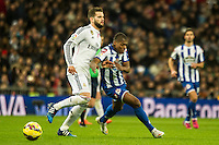 Real Madrid´s Daniel Carvajal and Deportivo de la Coruna's Ivan Cavaleiro during 2014-15 La Liga match between Real Madrid and Deportivo de la Coruna at Santiago Bernabeu stadium in Madrid, Spain. February 14, 2015. (ALTERPHOTOS/Luis Fernandez) /NORTEphoto.com