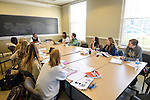 Manuel Sosa Ramirez, visiting assistant professor of modern languages, engages his Intensive Conversation and Composition students in Spanish on their second day of class. Photo by Robert Jordan/Ole Miss Communications