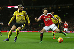 Valon Behram of Watford battles Daley Blind of Manchester United - Barclay's Premier League - Manchester United vs Watford - Old Trafford - Manchester - 02/03/2016 Pic Philip Oldham/SportImage