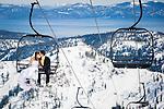 "Kara and Kent enjoying a ""Trash the dress"" post-wedding photo shoot at their favorite resort, Squaw Valley. Photo by Monique Sady"