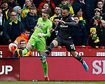 Dean Henderson of Sheffield Utd kicks clear from Josip Drmic of Norwich City during the Premier League match at Bramall Lane, Sheffield. Picture date: 7th March 2020. Picture credit should read: Simon Bellis/Sportimage