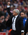 Stoke City Manager Mark Hughes thanks the fans at the end of the premier league match at the Britannia Stadium, Stoke. Picture date 19th August 2017. Picture credit should read: Robin Parker/Sportimage
