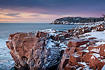 A frosty sunrise at Thunder Hole, Acadia National Park, ME, USA