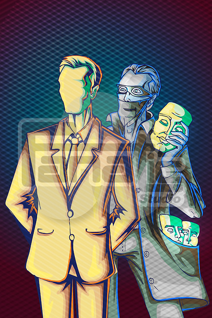 Illustrative image of businessman with identity thief holding mask representing internet hacking