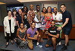 Lynn Ahrens and Stephen Flaherty with company members and winners Rodrick Covington, Cassondra James, T. Oliver Reid, and Grasan Kingsberry during the ceremony as The chorus of Broadway's Once on This Island receives the twelfth annual Advisory Committee on Chorus Affairs (ACCA) Award for Outstanding Broadway Chorus from Actors' Equity at the Actors' Equity Offices on June 19, 2018 in New York City.