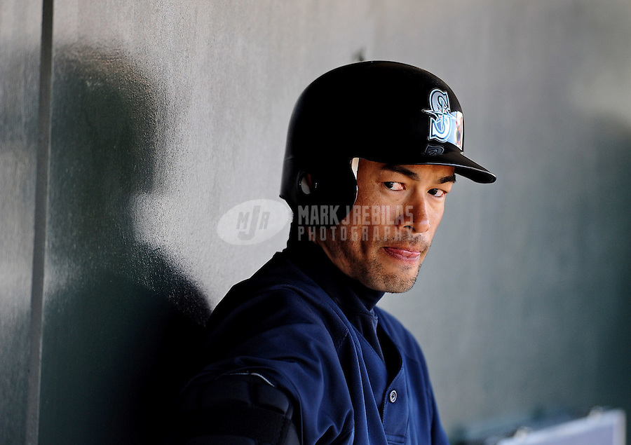 Mar. 10, 2010; Tempe, AZ, USA; Seattle Mariners right fielder Ichiro Suzuki in the dugout against the Texas Rangers during a spring training game at Surprise Stadium. Mandatory Credit: Mark J. Rebilas-